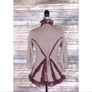 Anthropologie Guinevere cardigan M lace ruffles